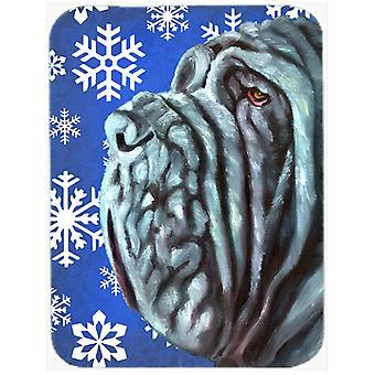 Neapolitan Mastiff Winter Snowflakes Holiday Glass Cutting Board Large
