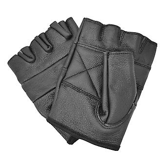 Bullet 69 Black Biker Leather Gloves