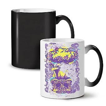 Głowica twarz nowy kolor czarny czaszka zmiana herbata kawa ceramiczny kubek 11 oz | Wellcoda
