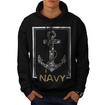Navy Anchor Sea Vintage Men BlackHoodie | Wellcoda