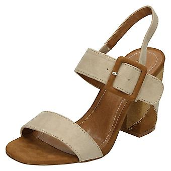 Ladies Spot On High Patchwork Heel Mule Sandals F10626