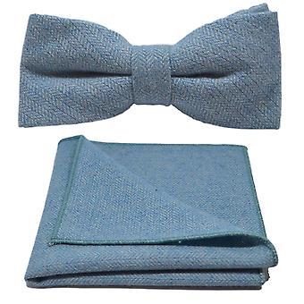 Hemelsblauw Herringbone strikje & zak plein Set