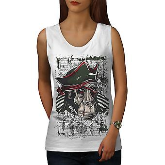 Affe Piraten coole Damen WhiteTank Top | Wellcoda