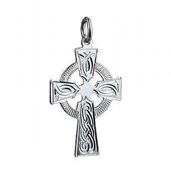 28x20mm plata diseño grabado nudo Cruz celta de la mano