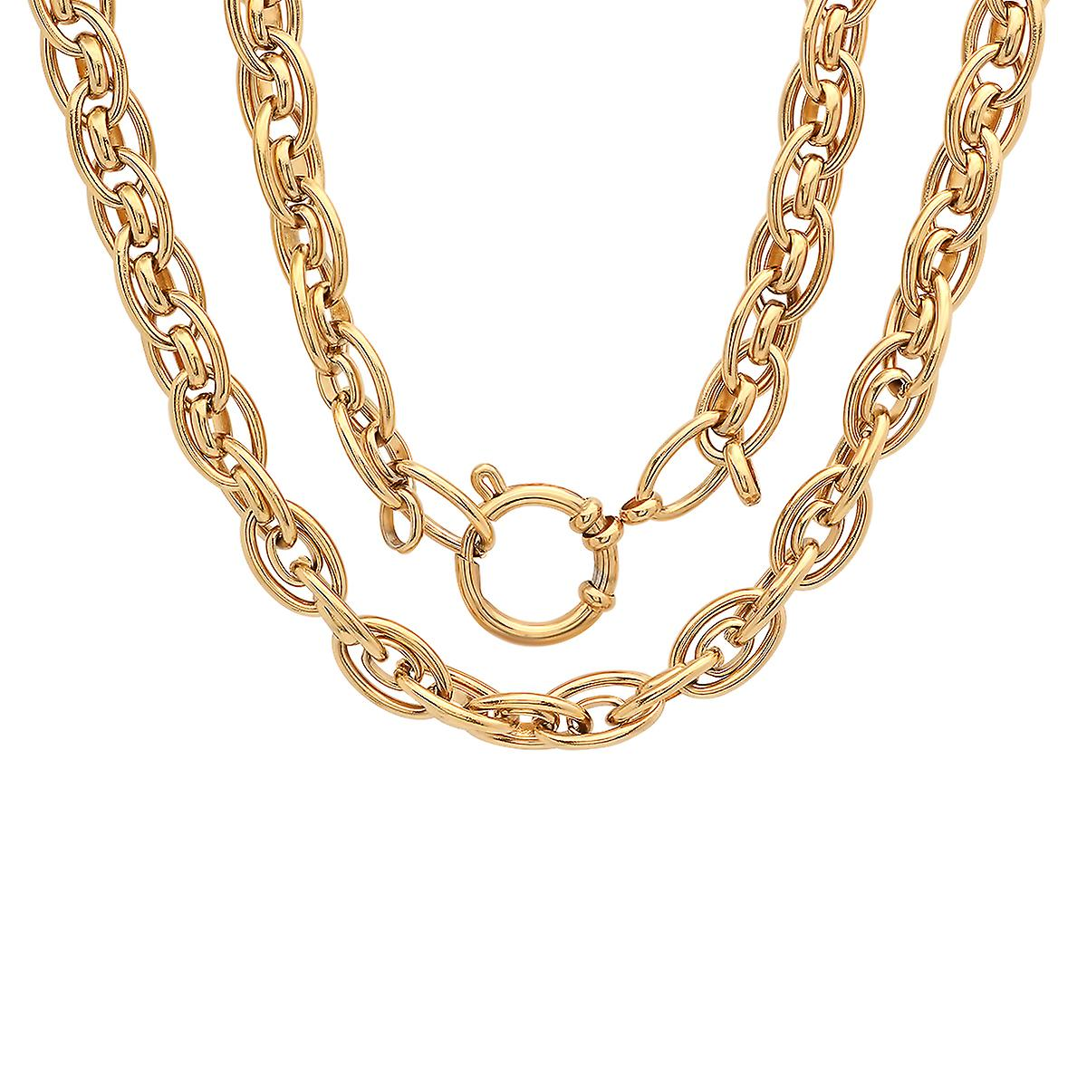 Ladies 18K Gold Plated Stainless Steel Cluster Chain Link Necklace