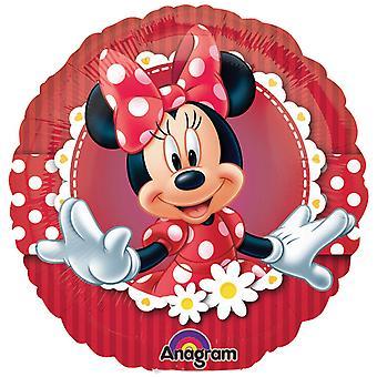 Amscan 18 Inch Disney Minnie Mouse Striped Circular Foil Balloon