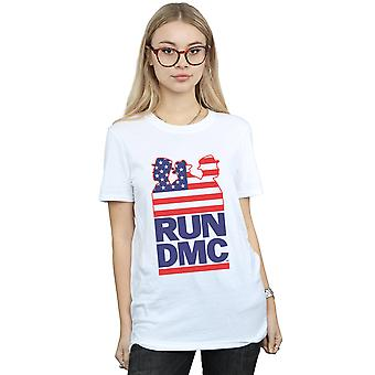 Run DMC Women's USA Silhouette Boyfriend Fit T-Shirt