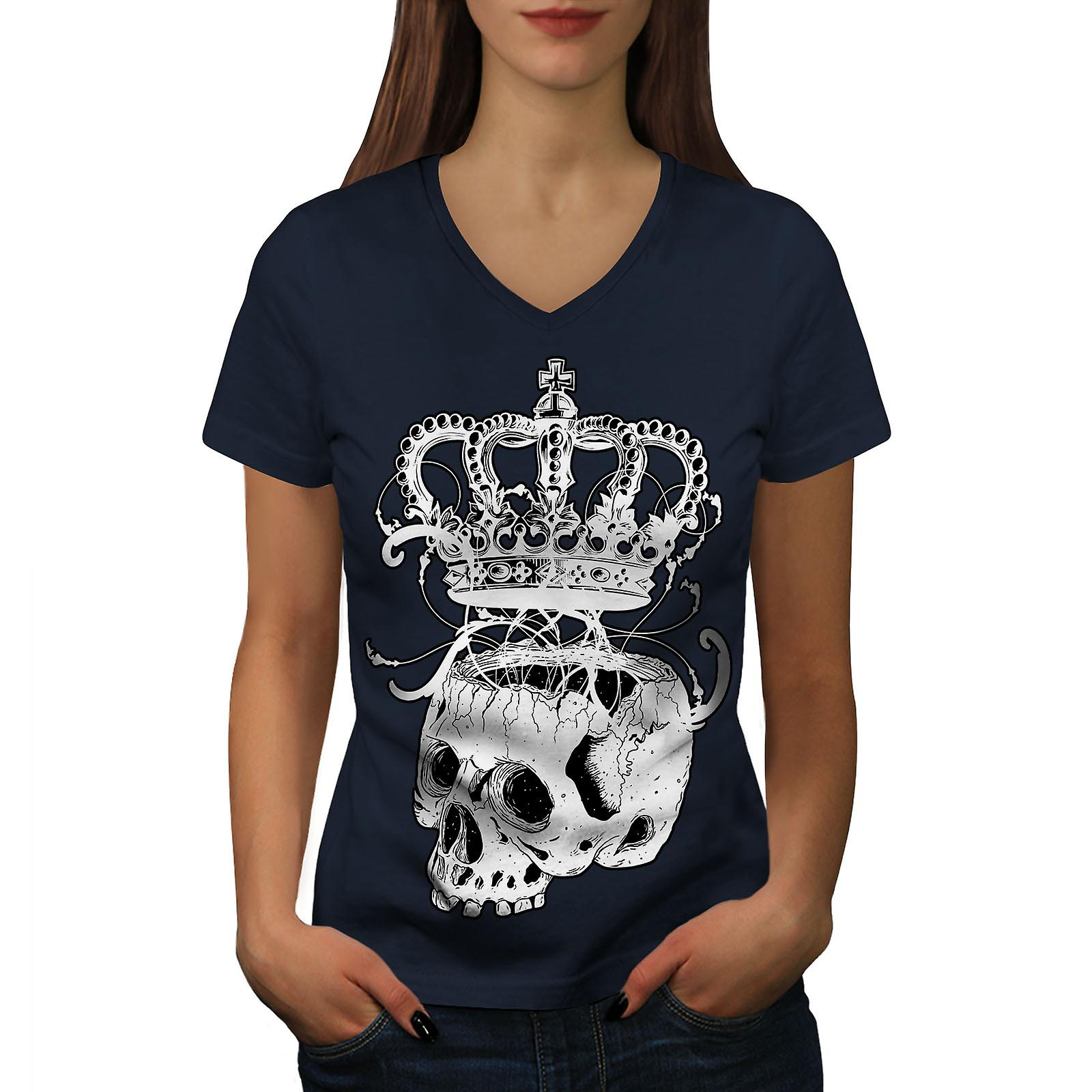 La Couronne squelette Rock femmes NavyV-Neck T-shirt   Wellcoda