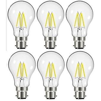 6 X Energizer 7.2W = 60W LED Filament GLS Light Bulb Lamp Vintage BC B22 Bayonet Cap [Energy Class A+]