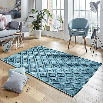 Design viscose rug Iris in a relief look blue