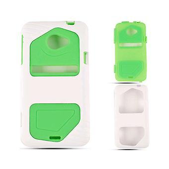 Cell Armor Hybrid Fit Jelly Case for HTC Evo LTE - Green Skin with White