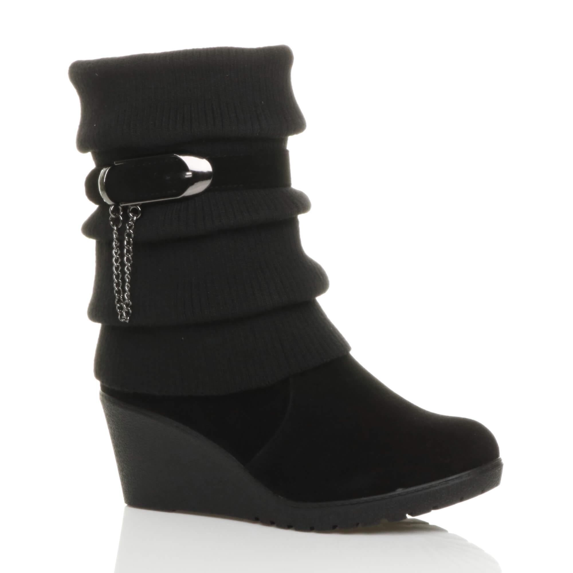 Ajvani womens mid high heel wedge platform biker knitted collar slouch winter calf ankle boots nrNB0