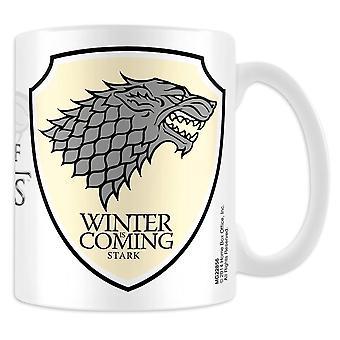 Game of Thrones Tasse Stark  weiß, bedruckt, aus Keramik, Fassungsvermögen ca. 315ml., in Geschenkkarton.