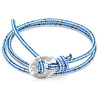 Anchor and Crew Lerwick Silver and Rope Bracelet - Blue Dash