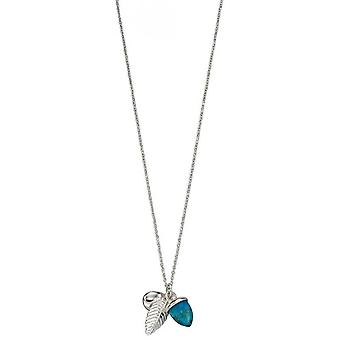 Elements Silver Acorn and Leaf Necklace - Silver/Turquoise