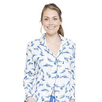 Cyberjammies 4054 vrouw Amelia White Feather Print pyjama's Top
