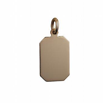 9ct الذهب 18x12mm عادي قطع زاوية مستطيلة القرص