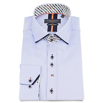 Guide London Cotton Sateen Mens Shirt With Contrast Trim Detail