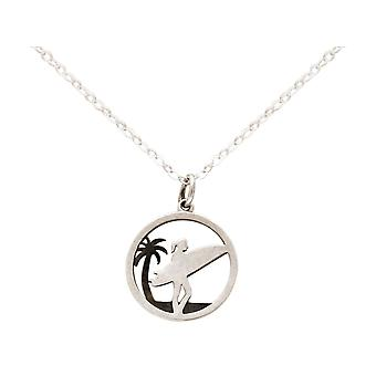 Maritim Nautics Necklace Surfer, Surfer Palm 925 Silver, Gold plated or rose