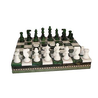 Green & White Alabaster Chess Set Inlaid Chest