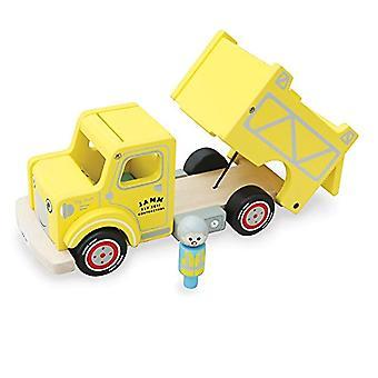 Indigo Jamm Toby Truck, vehículo de juguete de madera amarillo Retro con volquete movible y desmontable Driver