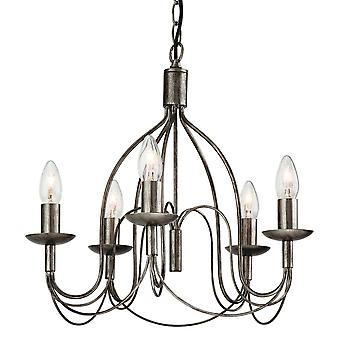 Erstlicht-5 Light Chandelier Antique Silver-2317AS