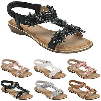 Womens Floral Summer Holiday Diamante Elasticated Open Toe Wedge Sandals UK 3-8