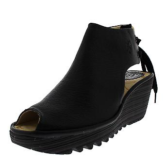 Naisten Fly London Yuzu nahka Peep Toe kiila kantapää kesän Platform sandaalit