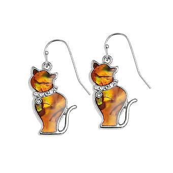 Evig samling tabby oransje Paua Shell sølv tone Cat drop gjennomboret øredobber
