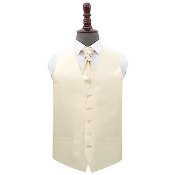 Beige vanlig shantung bryllup vest & amp; Cravat sett