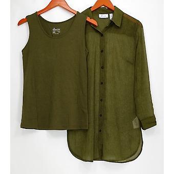 Denim & Co. Womens Top XXS Geweven Look Print Shirt met Tank Green A291632 PTC