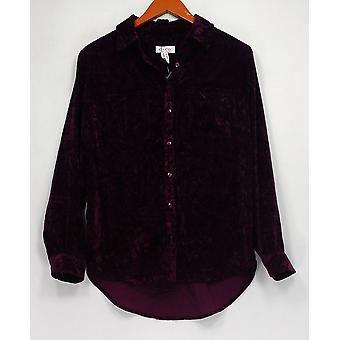 Denim et Cie. Femmes -apos;s Top Crushed Velvet Long Sleeve Button Purple A300758