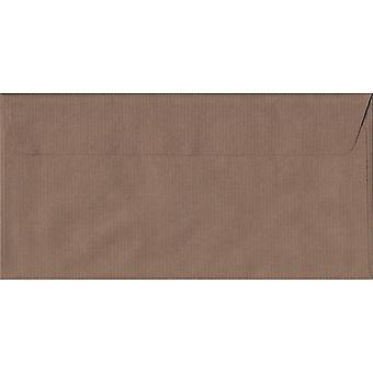 Brown Ribbed Peel/Seal DL Coloured Brown Envelopes. 100gsm FSC Sustainable Paper. 110mm x 220mm. Wallet Style Envelope.