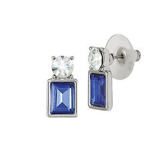 Evige samling kadence safir blå krystal sølv Tone Stud gennemboret øreringe