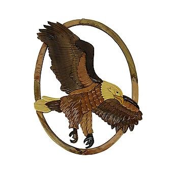 Hand Carved Wood Art Flying Eagle Wall Hanging