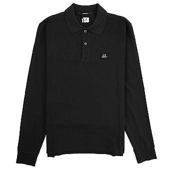 CP Company Piquet Langarm Polo Shirt Regular Fit Schwarz 999