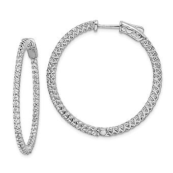 925 Sterling Silver Hinged Polished Prong set Safety clasp CZ Cubic Zirconia Simulated Diamond Round Hoop Earrings Jewel