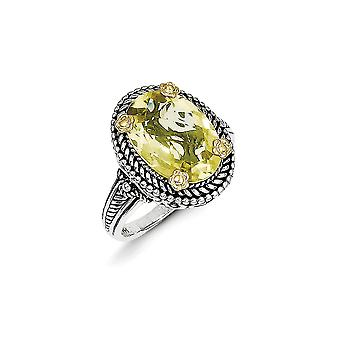 925 Sterling Silver finish With 14k 4.25Lemon Quartz Ring Size 6 Jewelry Gifts for Women - 4.25 cwt