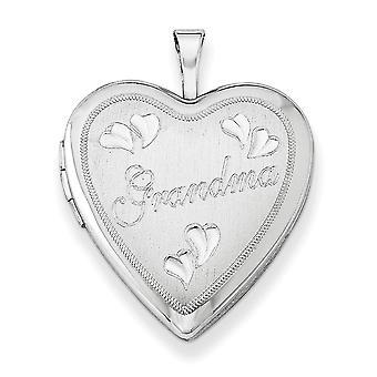 925 Sterling Silber gemustert hält 2 Fotos poliert und satin 20mm sparkle geschnitten Oma Liebe Herz Medaillon Schmuck Geschenke