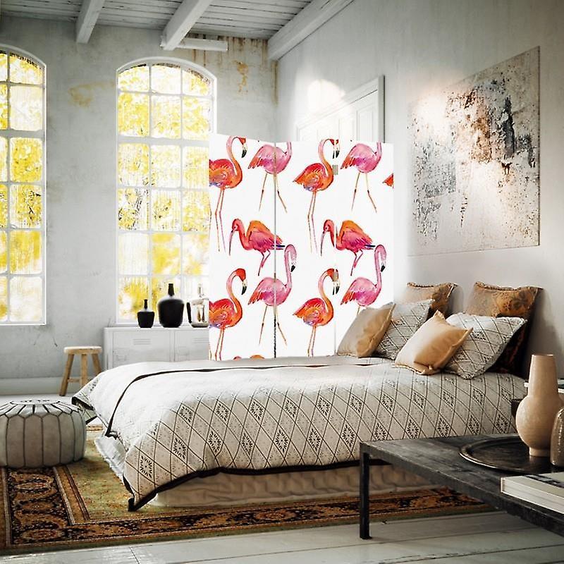 Diviseur de chambre, 3 panneaux, double-sided, toile, Flamingos