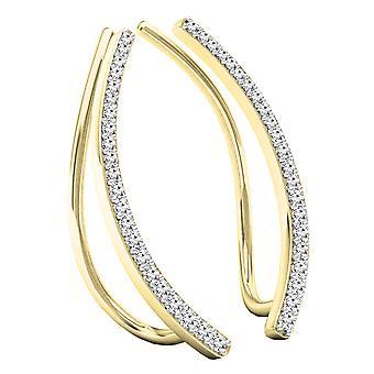 Dazzlingrock Collection 0,22 Carat (CTW) 10K runde hvide diamant damer crawler klatrer øreringe, gul guld