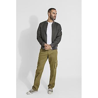 Firswood mens organic cotton loose fit cargo trousers - olive