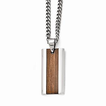 Stainless Steel Polished Brown Wood Inlay Enameled Necklace - 20 Inch