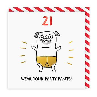 Ohh Deer 21 Wear Your Party Pants! Square Birthday Card