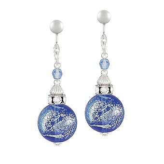 Eternal Collection Focale Blue Sparkler Murano Dichroic Glass Silver Tone Drop Clip On Earrings