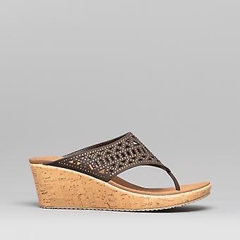 Skechers Beverlee Summer Visit Ladies Wedge Heel Sandals Chocolate