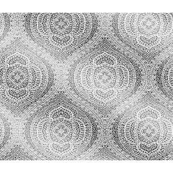Patrón de bordado de encaje blanco Papel pintado plata lámina Floral metalizada texturizada