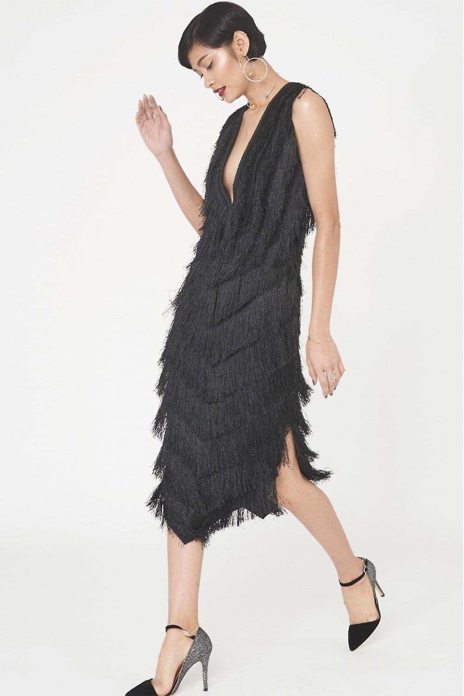 Lavish Alice The Black Fringed Lace Midi Dress