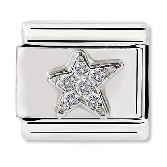 Nomination Classic Silver Asymmetric Star CZ Link Charm 330304/25