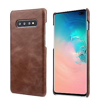 For Samsung Galaxy S10 Case, Coffee Elegant Genuine Leather Back Phone Cover